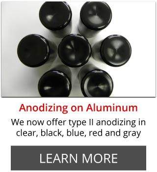Anodizing on Aluminum | We now offer type II anodizing in clear, black, blue, red and gray | Learn More | aluminum pipes
